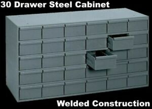 Metal 30 Bin Storage Drawer Cabinet Steel Parts Nuts Bolts Fasteners Screws