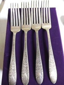 Rose And Leaf U S N 4 Dinner Forks U S Navy 1937 National Silver Co A1