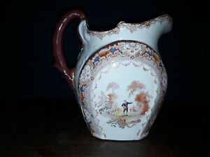 Antique Doulton Burslem England Large Transferware Pitcher Watteau Courting