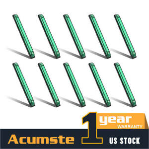 10x 8 Green Led Utility Strip Light Bar Surface Mount Design 18led Side Marker