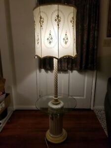 Hollywood Regency Vintage Floor Lamp Italian Style Ceramic Wood