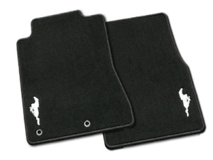 Genuine Ford Mustang Floor Mats Carpeted Black 2 piece Set W silver Pony