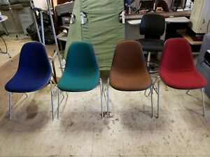 4 Vintage Eames Herman Miller Side Chairs Upholstered