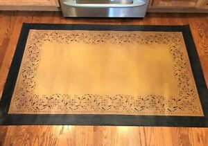 Beautiful Primitive 4 X6 Floorcloth Area Rug Hand Painted Oil Cloth Floor Cloth