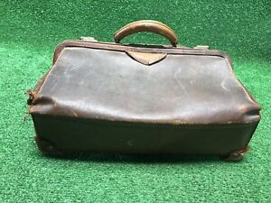 Large Antique Vintage Leather Medical Doctor S Bag Satchel Travel Bag Brass Hrdw