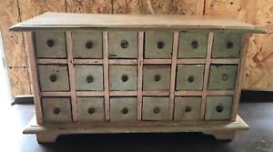 Primitive Vintage 18 Drawer Apothecary Spice Cabinet Green Cream Paint Furniture