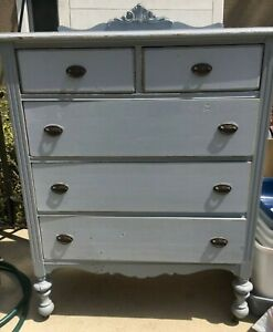 Antique Highboy Solid Wood Dresser Shabby Chic Pastel Blue Circa 1900s 1920s