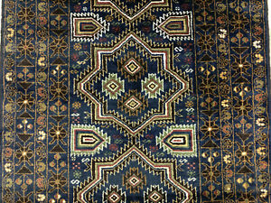 4x7 Blue Vintage Persian Rug Antique Hand Knotted Wool Geometric Oriental 4x6 Ft