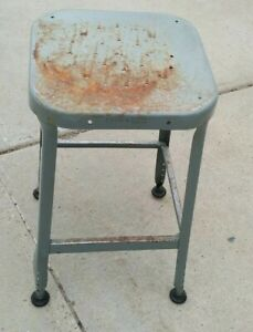 Vtg Lyon Industrial Era Machine Age Steampunk Welded Metal Drafting Shop Stool