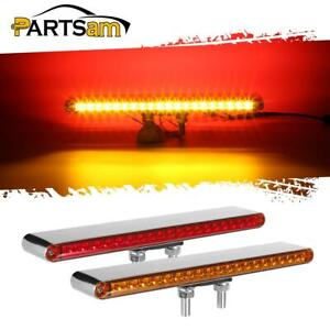 2 12 Red amber 40 Led Chrome Double Face Truck Semi Trailer Marker Light Bars