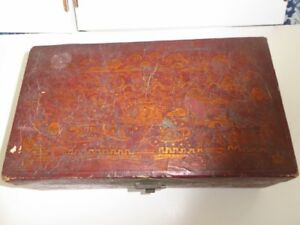 Antique Chinese Export Gilt Painted Pig Skin Document Jewelry Box Chest 14x8