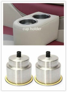Pair Brushed Stainless Steel Cup Drink Holder Boat Car Truck Bottle Stand Holder