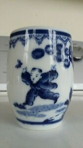Antique Porcelain Blue White Japanese 4 Brush Pot Vase Cup Marked
