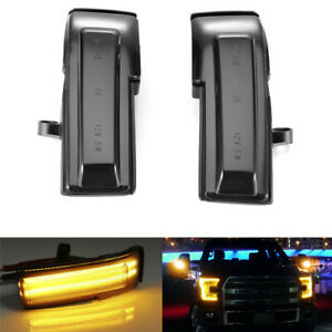 Pair Dynamic Smoked Lens Led Side Mirror Turn Signal Light For F150 2015 2018