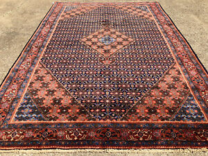 7x10 Blue Antique Persian Rug Hand Knotted Wool Coral Oriental Geometric 6x9 7x9