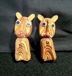 Vintage 1950 S 60 S Mid Century Danish Modern Witco Style Small Burnt Wood Cats