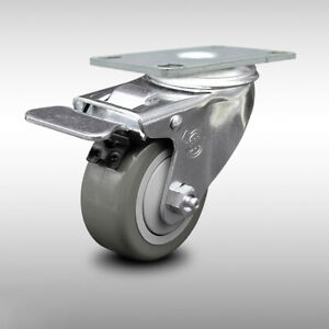 Scc 3 Poly Wheel Stainless Swivel Caster W total Lock Brake