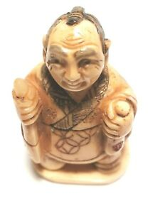Man With Sacks Signed Netsuke Vintage Stunning Hand Carved 775 B
