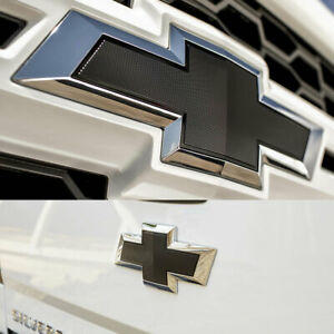 set Of 2 2014 2019 Chevy Silverado Front Grill And Rear Emblem Chrome Black