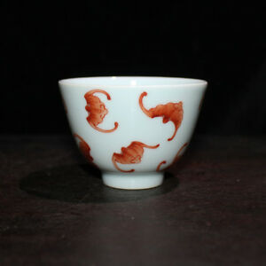 Chinese Old Marked Iron Red Colored Bats Pattern Porcelain Cup