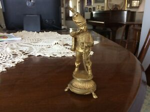 Antique Miniature French Gilt Bronze Child Dressed As A Napoleonic Officer