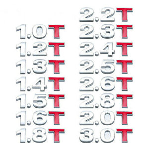 Chrome Metal Alloy Turbo Engine Stickers Decals 1 5t 2 0t 2 2t 2 4t 2 8t 3 0t