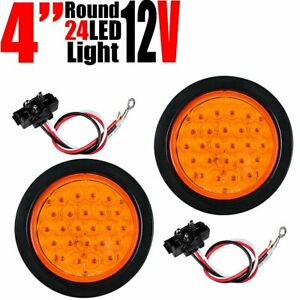 2x4 Inch Round Tail Light 24 Led Amber Turn Signal Lamp For Truck Trailer Rv Car