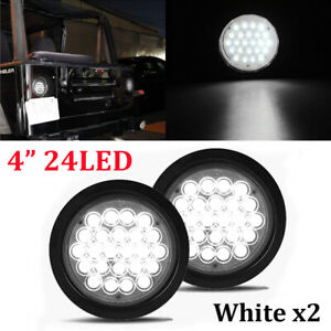 2x 4 White 24 Led Round Reverse Backup Tail Light For Truck Trailer Lorry Bus