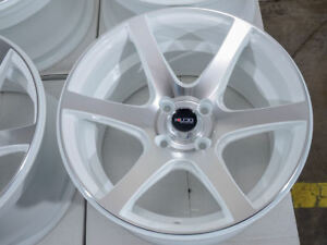 15x8 Wheels Cobalt Accord Civic Fit Accent Spectra Cooper Sentra White Rim 4x100