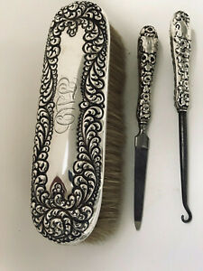 Set Of 3 Antique Sterling Silver Highly Repousse Grooming Items Brush Hooks