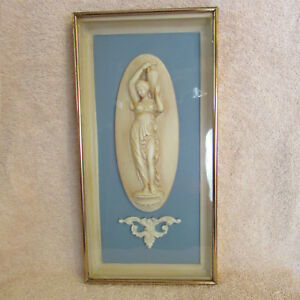 Vintage Framed Full Size Plaster Intaglio Lady With Water Jug