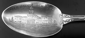 Sterling Silver Souvenir Spoon City Hall New York Dated 12 25 1903