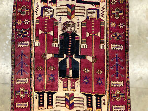 4x13 Antique Persian Rug Pictorial Runner Vintage Hand Knotted Caucasian 4x14 Ft
