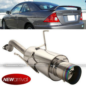 Fits 01 05 Civic 2 4 Dr Stainless Steel Axle Back Exhaust Muffler Green Tip