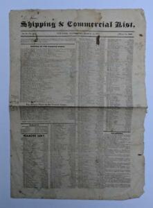 1825 New York Ny Nyc Shipping Commercial List Newspaper Import Price Rate Etc