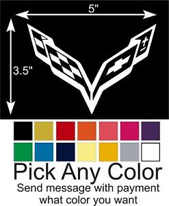 Corvette C7 Flag Emblem Logo Decal Vinyl Window Sticker Pick A Color