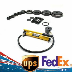15 Ton Hydraulic Knockout Punch Sets Driver Kit 10 Dies Conduit Hole Tool 25kg