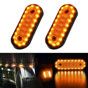 2x 20 Led Amber Car Truck Trailer Oval Side Marker Tail Lights Clearance Lamp