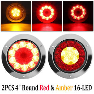 2x 4 Round Red Amber 16 Led Truck Trailer Brake Stop Turn Signal Tail Lights