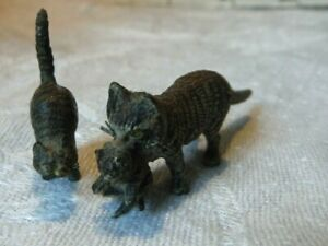 Antique Austria Cold Painted Bronze Miniature Cat Figures Franz Bergman Vgc
