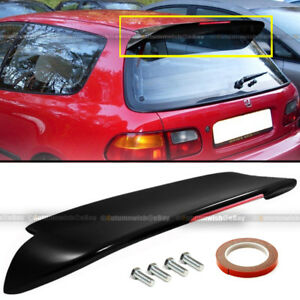 Fit 92 95 Civic 3dr Duckbill Spoon Painted Glossy Black Rear Spoiler Wing W Led