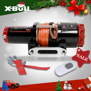X bull 4500lbs Electric Winch 12v Atv Utv Winch Towing Truck Synthetic Rope 4wd