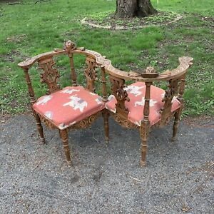 1880 Conversation Chair Tete A Tete Hand Carved Cherubs Eagles