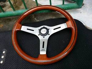 Vintage Oba Wood Steering Wheel With Jdm Suzuki Horn Button Jimny Siara Vitara