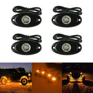 Amber Led Rock Light 4 Pod Lights For Off Road Truck Car Atv Suv Under Wheel 4x4