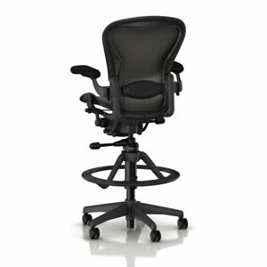New Herman Miller Aeron Drafting Stool Size B fully Adjustable With Lumbar