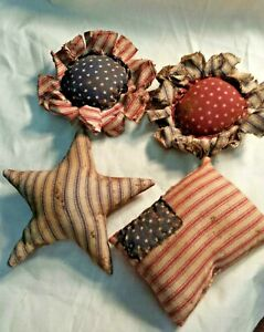 Primitive Americana Bowl Fillers Ornies American Flags Stars Flowers Grunged