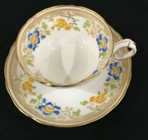 Vintage Hammersley Co Tea Cup Saucer White W Gold Trim And Painted Flowers