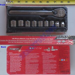 New Snap On 3 8 12 Pts Metric Low Profile Ratchet Socket 10 Pcs Set 210rafm