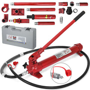 10 Ton Porta Power Hydraulic Jack Body Frame Multi Purpose 2m Hose Portable
